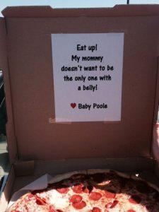 oznanitev nosečnosti - pica